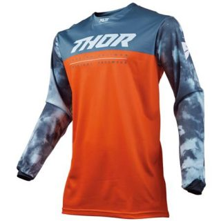 TRICOU MX-ENDURO PT COPII, THOR PULSE AIR ACID, ROSU-ORANGE, TG. XXS